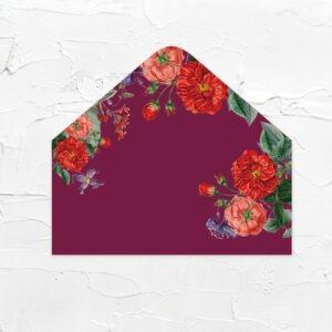 酒紅花園-喜帖信封襯紙